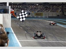 Kimi Raikkonen wins the Abu Dhabi Grand Prix, Lotus, Yas