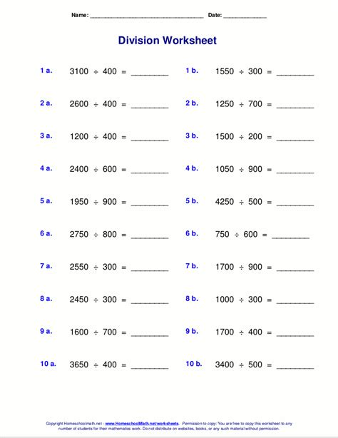worksheets  division  remainders