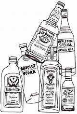 Alcohol Bottles sketch template