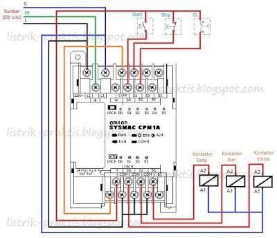 rangkaian delta motor listrik 3 fasa menggunakan plc listrik praktis