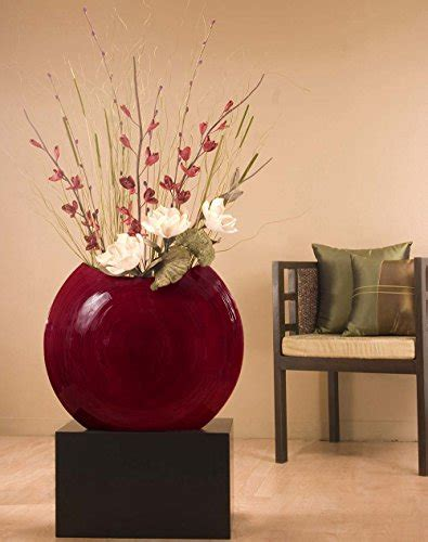 green floral crafts   mahogany red bamboo disc vase