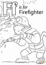 Firefighter Coloring Letter Fire Printable Cartoon Hose Fireman Firefighters Preschool Fighting Drawing Template Sprays Crafts Preschoolers Alphabet Sheets Sheet Worksheets sketch template
