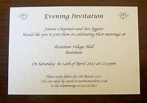 personalised wedding day evening reception invitations With examples of wedding evening invitations
