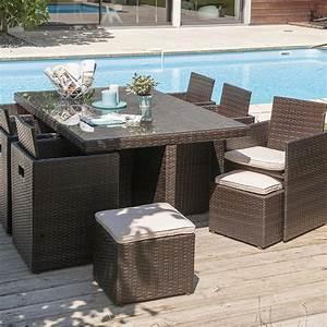 Salon Jardin Encastrable : salon de jardin encastrable r sine tress e chocolat 1 table 6 fauteuils 2 po leroy merlin ~ Maxctalentgroup.com Avis de Voitures