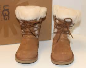 womens ugg shoes with laces ugg youth sophy lace up boots chestnut ebay