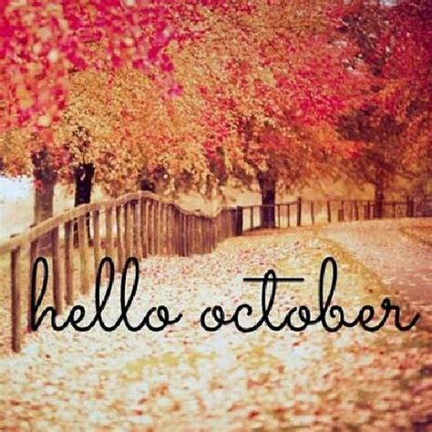 Orange & Red Leaf Hello October Image Pictures, Photos ...
