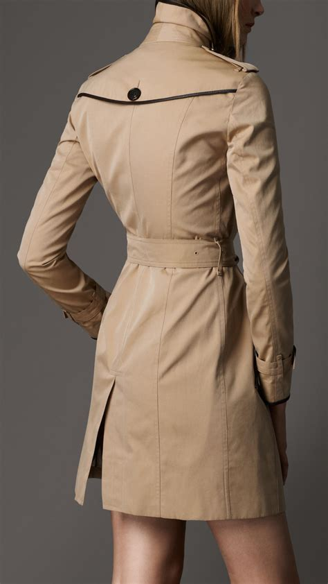 lyst burberry leather detail trench coat  natural