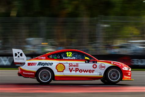 coulthard takes shell mustang  pole  race