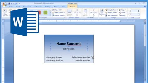 microsoft word     print business card
