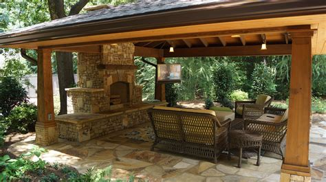 Outdoor Living Spaces With Water Feature And Greens