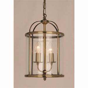 Small, Traditional, Hall, Lantern, In, Antique, Brass, With, 2, Candle, Lights