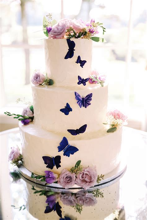 purple butterflies   wedding cake