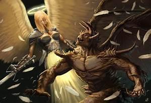 [Fantasy art] Angel VS Demon by joeslucher at Epilogue