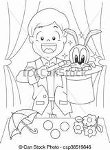 Magician Boy Coloring Illustration Kid Dressed Drawing sketch template