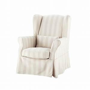 Fauteuil Bergère Maison Du Monde : housse de fauteuil rayures en coton beige cottage maisons du monde ~ Teatrodelosmanantiales.com Idées de Décoration