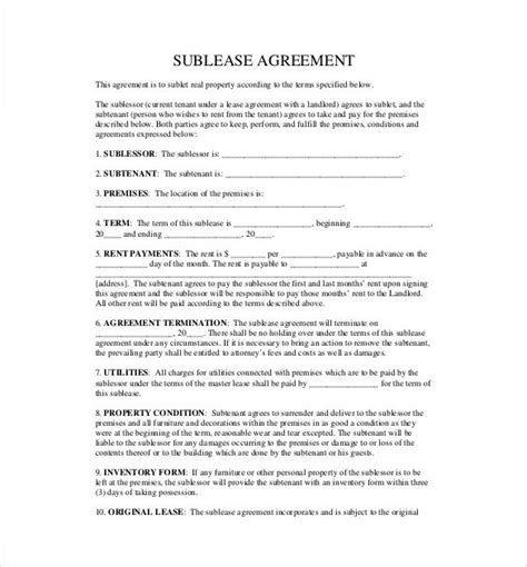 sublet agreement template word excel  templates