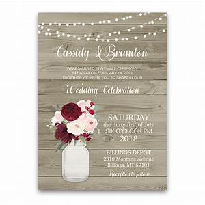 rustic wedding reception only invitation mason jar With wedding reception invitations with pictures