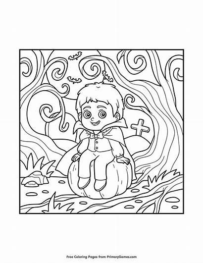 Coloring Pumpkin Vampire Halloween Primarygames Printable Happy