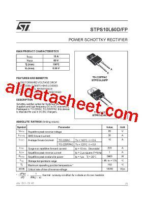 STPS10L60D Datasheet(PDF) - STMicroelectronics