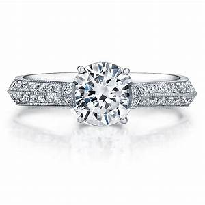 190ct round diamond 18k white gold knife edge milgrain With knife edge wedding ring