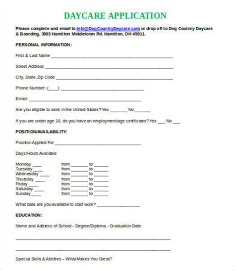 child care employment application form printable job application template 10 free word pdf