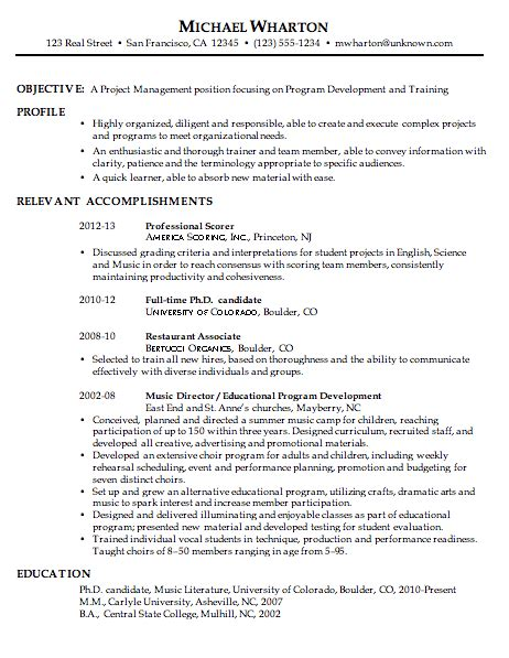 resume sle for project management susan ireland resumes