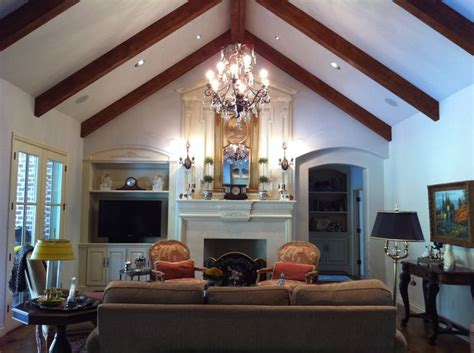 great room  cathedral ceiling rake beams transitional interior transitional home decor