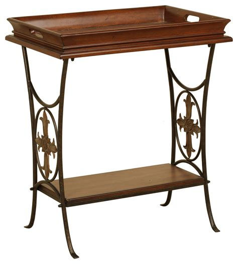walnut accent table  removable tray mediterranean side tables   tables