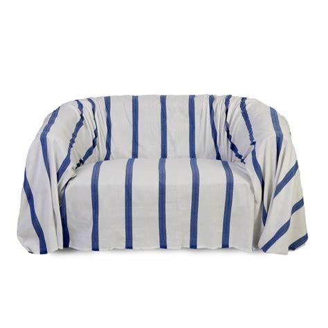 jeté de canapé blanc jeté de canapé rectangulaire en coton blanc et bleu f3