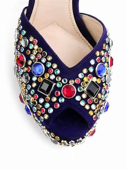 Sandals Jeweled Miu Platform Donna Suede Navy