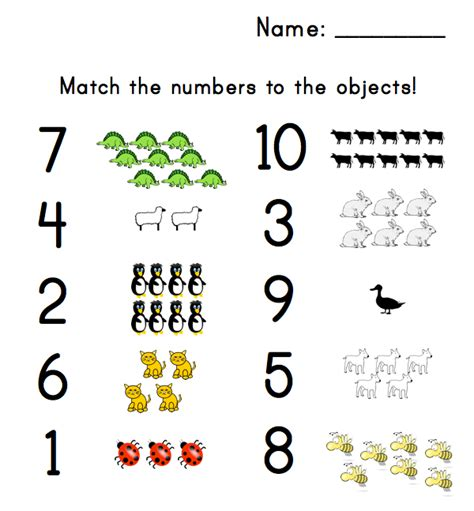 9 Best Images Of Printable Number Match For Preschool  Number Matching Worksheets, Free