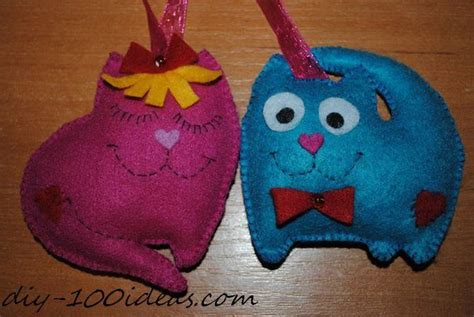 felt cat ornament diy  ideas
