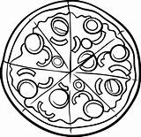 Pizza Coloring Printable Colouring sketch template