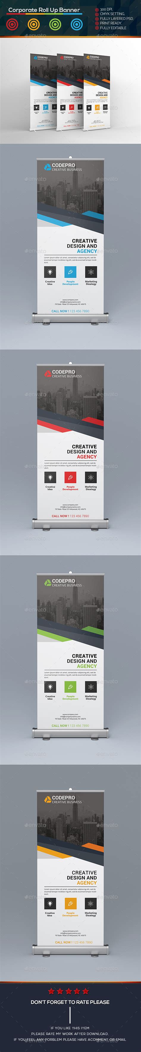 corporate roll  banner template psd roll  banner