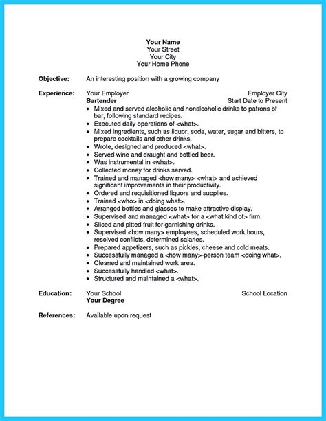 Another Name For Bartender On Resume by Impressive Bartender Resume Sle That Brings You To A