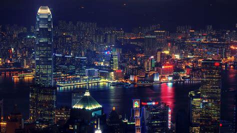victoria harbour  hong kong  night filled  lights wallpaperscom