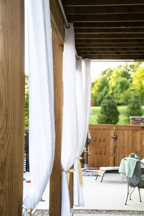 hang outdoor curtains diy outdoor curtain rods