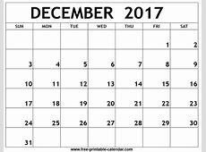December 2017 Calendar calendar 2017 printable