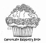 Coloring Cupcake Chocolate Raspberry Rose Cupcakes Pages Colouring Adult Printable Print Sheets Cakes Colour Food Netart Icolor Birthday sketch template