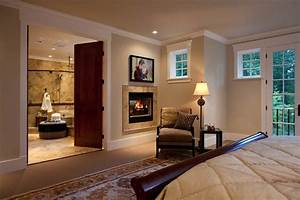 Master Bedroom Double Fireplace in Bedroom and Bathroom ...