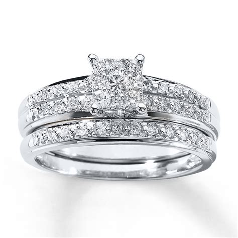 white gold wedding rings sets for him and bridal set 1 3 ct tw cut 10k white gold 1341