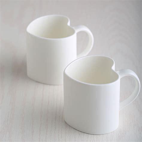 ml plain white bone china heart mug lovers espresso