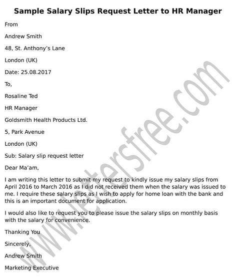 sample request letter  hr manager  salary slips