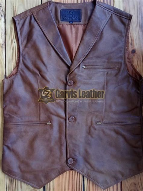 jual rompi kulit biker brown rkt original leather garut