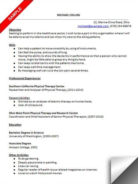 18450 physical therapist resume physical therapy resume objective resume ideas