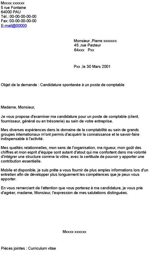 accroche lettre de motivation spontanee lettre de motivation candidature spontan 233 e mod 232 le courrier administratif gratuit jaoloron