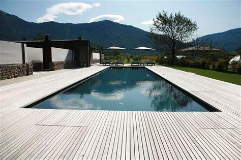 black swimming pool    timber deck edging