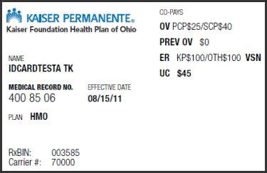 Your kaiser permanente member identification card has your name, id number, and health plan name. KAISER HMO \ MEDICAL INSURANCE CARD \ - Google Search   Medical Billing & Coding ~ Project ...