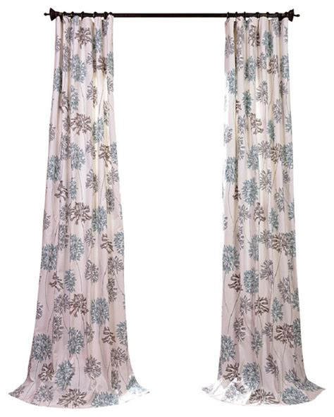 allium blue gray printed cotton curtain contemporary