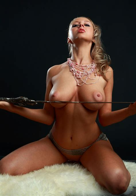 Amazing Russian Blonde With Perfect Big Boobs With A Sword